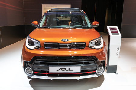 BRUSSELS - JAN 19, 2017: Kia Soul electric car presented at the Brussels Autosalon Motor Show.