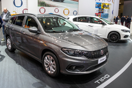 BRUSSELS - JAN 10, 2018: Fiat Tipo wagon car showcased at the Brussels Expo Autosalon motor show.