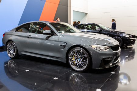 BRUSSELS - JAN 19, 2017: BMW M4 Coupe TELESTO car showcased at the Brussels Autosalon Motor Show.