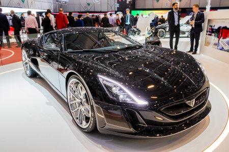 GENEVA, SWITZERLAND - MARCH 8, 2017: Rimac Concept One sports car showcased at the 87th Geneva International Motor Show.