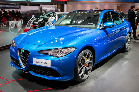 BRUSSELS - JAN 10, 2018: Alfa Romeo Giulia sedan car showcased at the Brussels Expo Autosalon motor show.