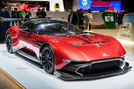 GENEVA, SWITZERLAND - MARCH 8, 2017: Aston Martin Vulcan sports car showcased at the 87th Geneva International Motor Show.