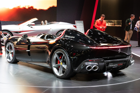PARIS - OCT 3, 2018: Limited-Edition Ferrari Monza SP2 Speedster sports car unveiled at the Paris Motor Show.