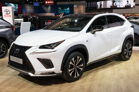 BRUSSELS - JAN 10, 2018: Lexus NX300h crossover SUV car showcased at the Brussels Expo Autosalon motor show.