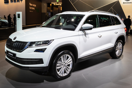 BRUSSELS - JAN 10, 2018: Skoda Kodiaq compact SUV car showcased at the Brussels Expo Autosalon motor show.