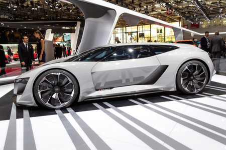 PARIS - OCT 3, 2018: Audi PB18 e-tron concept super car unveiled at the Paris Motor Show.