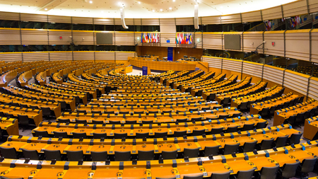 BRUSSELS, BELGIUM - JULY 30, 2014: The EU European Parliament Room in Brussels. Stock fotó - 115974124