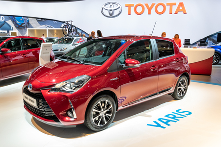 BRUSSELS - JAN 10, 2018: Toyota Yaris Hybrid car showcased at the Brussels Expo Autosalon motor show.