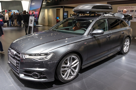 BRUSSELS - JAN 19, 2017: Audi A6 Avant car showcased at the Brussels Autosalon Motor Show.