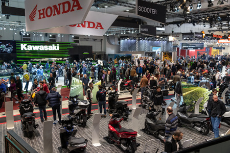 BRUSSELS - JAN 19, 2017: Crowd of visitors at the Brussels Autosalon Motor Show.
