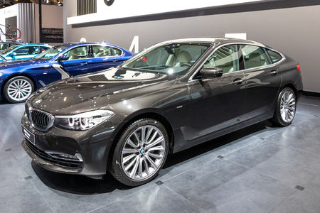 BRUSSELS - JAN 10, 2018: BMW 6 Series Gran Turismo luxury car showcased at the Brussels Expo Autosalon motor show.