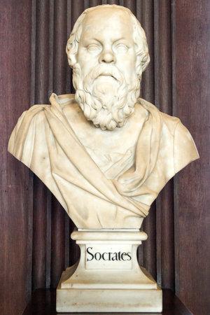 DUBLIN, IRELAND - FEB 15, 2014: Sculpture of Socrates in the Trinity College Library. Redactioneel