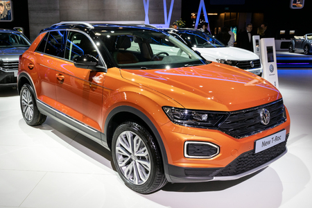 BRUSSELS - JAN 10, 2018: Volkswagen T-Roc  subcompact crossover SUV car showcased at the Brussels Expo Autosalon motor show.