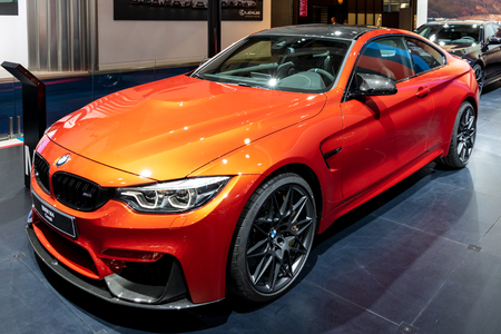 BRUSSELS - JAN 10, 2018: BMW M4 Coupe car showcased at the Brussels Expo Autosalon motor show.