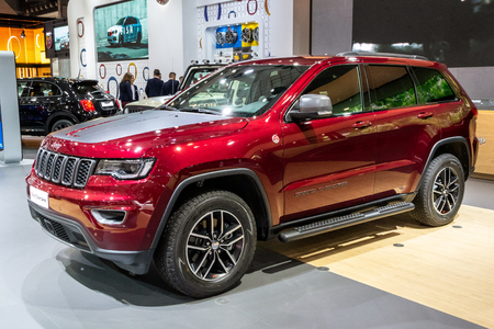 BRUSSELS - JAN 10, 2018: Jeep Grand Cherokee SUV car showcased at the Brussels Expo Autosalon motor show.