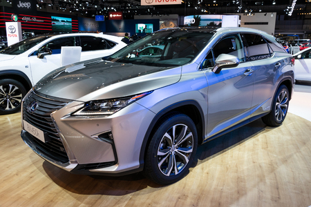 BRUSSELS - JAN 10, 2018: Lexus RX450h hybrid SUV car showcased at the Brussels Expo Autosalon motor show.