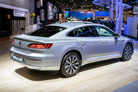 BRUSSELS - JAN 10, 2018: Volkswagen Arteon four-door fastback car showcased at the Brussels Expo Autosalon motor show.