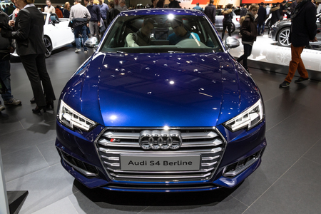 BRUSSELS - JAN 19, 2017: New Audi S4 Berline car presented at the Brussels Motor Show. Editorial