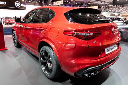 BRUSSELS - JAN 10, 2018: Alfa Romeo Stelvio sportive SUV car showcased at the Brussels Expo Autosalon motor show. Stock Photo - 115974074