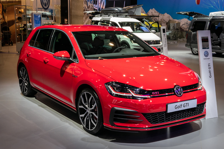 BRUSSELS - JAN 10, 2018: Volkswagen Golf GTI car showcased at the Brussels Expo Autosalon motor show.
