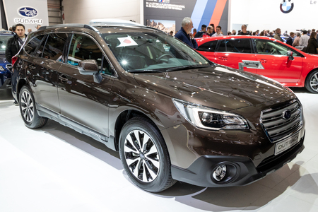 BRUSSELS - JAN 19, 2017: Subaru Outback car presented at the Brussels Motor Show.