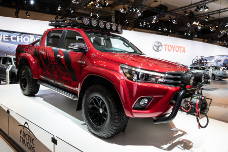 BRUSSELS - JAN 10, 2018: Toyota Hilux pick-up truck showcased at the Brussels Expo Autosalon motor show. Editorial