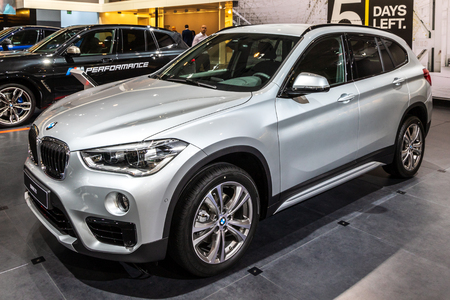 BRUSSELS - JAN 10, 2018: BMW X1 small SUV car showcased at the Brussels Expo Autosalon motor show.