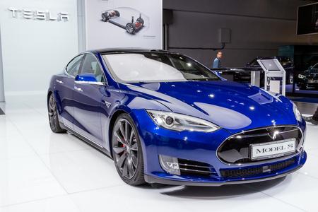 FRANKFURT, GERMANY - SEP 16, 2015: Tesla model S P90D electric car at the IAA Motor Show.