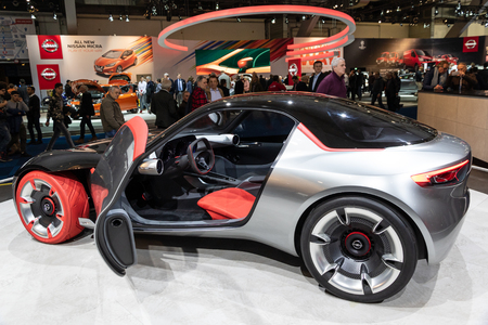 BRUSSELS - JAN 19, 2017: Opel GT Concept car presented at the Brussels Motor Show.