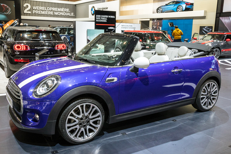 BRUSSELS - JAN 10, 2018: Mini Cooper Cabrio car showcased at the Brussels Expo Autosalon motor show. Editorial