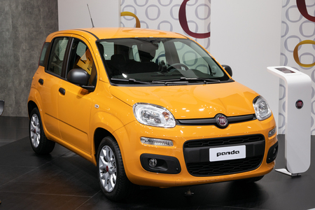 BRUSSELS - JAN 10, 2018: Fiat Panda city car showcased at the Brussels Expo Autosalon motor show. Banco de Imagens - 115973983