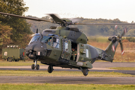 DEELEN, THE NETHERLANDS -OCT 11, 2018: German Army NH90 helicopter taking off from Deelen airbase.