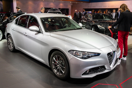 BRUSSELS - JAN 10, 2018: Alfa Romeo Giulia car showcased at the Brussels Expo Autosalon motor show.