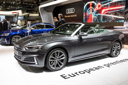 BRUSSELS - JAN 19, 2017: New Audi S5 Cabriolet car on display at the Motor Show Brussels.