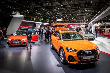 PARIS - OCT 3, 2018: Audi Q3 and Audi A1 cars showcased at the Paris Motor Show.
