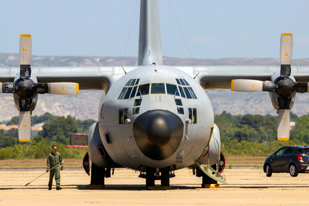 ZARAGOZA, SPAIN - MAY 20,2016: Spanish Air Force C-130 Hercules cargo plane on the tarmac off Zaragoza airbase. Editorial