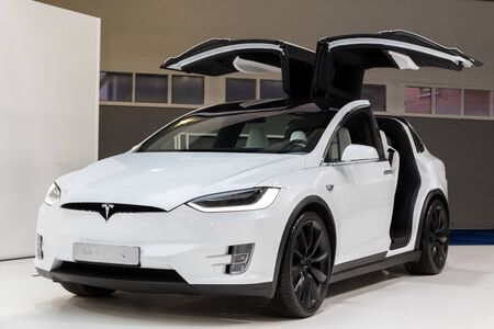 BRUSSELS - JAN 18, 2019: Tesla Model X electric luxury crossover suv car showcased at the 97th Brussels Motor Show 2019 Autosalon.