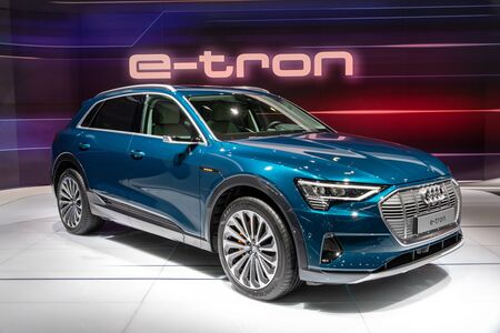 BRUSSELS - JAN 18, 2019: Audi e-tron electric SUV car showcased at the 97th Brussels Motor Show 2019 Autosalon.