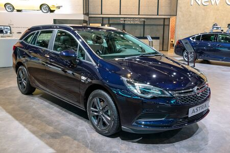 BRUSSELS - JAN 18, 2019: Opel Astra car showcased at the 97th Brussels Motor Show 2019 Autosalon.