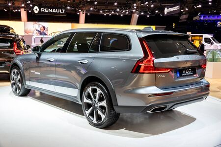 BRUSSELS - JAN 18, 2019: European debut of the new Volvo V60 Cross Country car showcased at the Brussels Motor Show 2019 Autosalon. Editorial