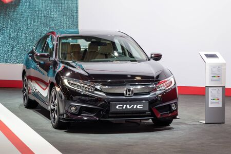 BRUSSELS - JAN 18, 2019: Honda Civic car showcased at the 97th Brussels Motor Show 2019 Autosalon.