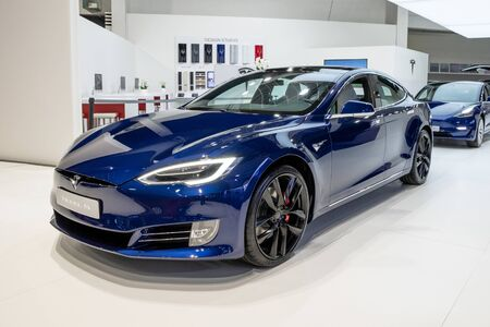 BRUSSELS - JAN 18, 2019: Tesla Model X electric car showcased at the 97th Brussels Motor Show 2019 Autosalon. Editorial