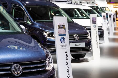 BRUSSELS - JAN 18, 2019: Volkswagen commercial vehicles line up at the 97th Brussels Motor Show 2019 Autosalon.