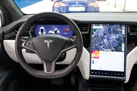 BRUSSELS - JAN 18, 2019: Interior view of the Tesla Model X luxury electric car showcased at the 97th Brussels Motor Show 2019 Autosalon. Editorial