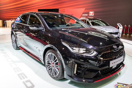BRUSSELS - JAN 18, 2019: Kia Proceed car showcased at the 97th Brussels Motor Show 2019 Autosalon.