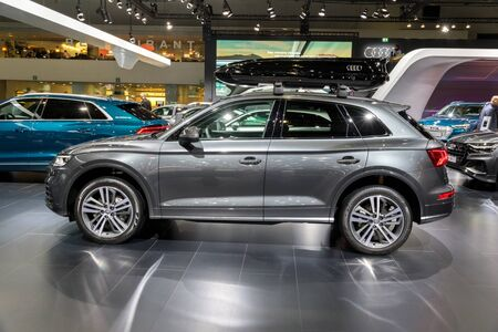 BRUSSELS - JAN 18, 2019: Audi Q5 compact luxury crossover SUV car showcased at the 97th Brussels Motor Show 2019 Autosalon.