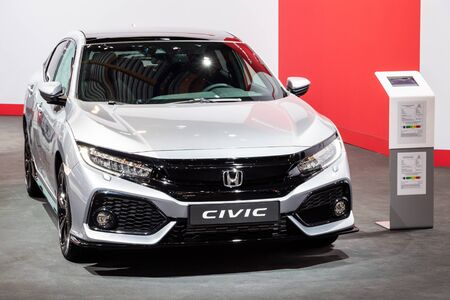 BRUSSELS - JAN 18, 2019: Honda Civic car showcased at the 97th Brussels Motor Show 2019 Autosalon. Editorial