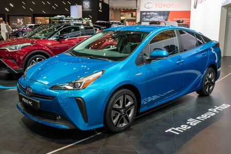 BRUSSELS - JAN 18, 2019: European premiere of the new facelifted Toyota Prius MC hybrid car at the 97th Brussels Motor Show 2019 Autosalon.