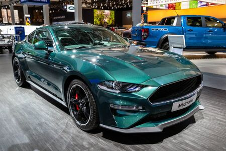BRUSSELS - JAN 18, 2019: Ford Mustang sports car showcased at the 97th Brussels Motor Show 2019 Autosalon. Sajtókép