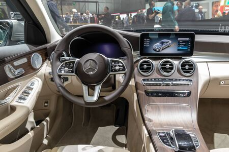 GENEVA, SWITZERLAND - MARCH 7, 2018: Interior view of the New Mercedes-Benz C-class C200 car presented at the 88th Geneva International Motor Show.